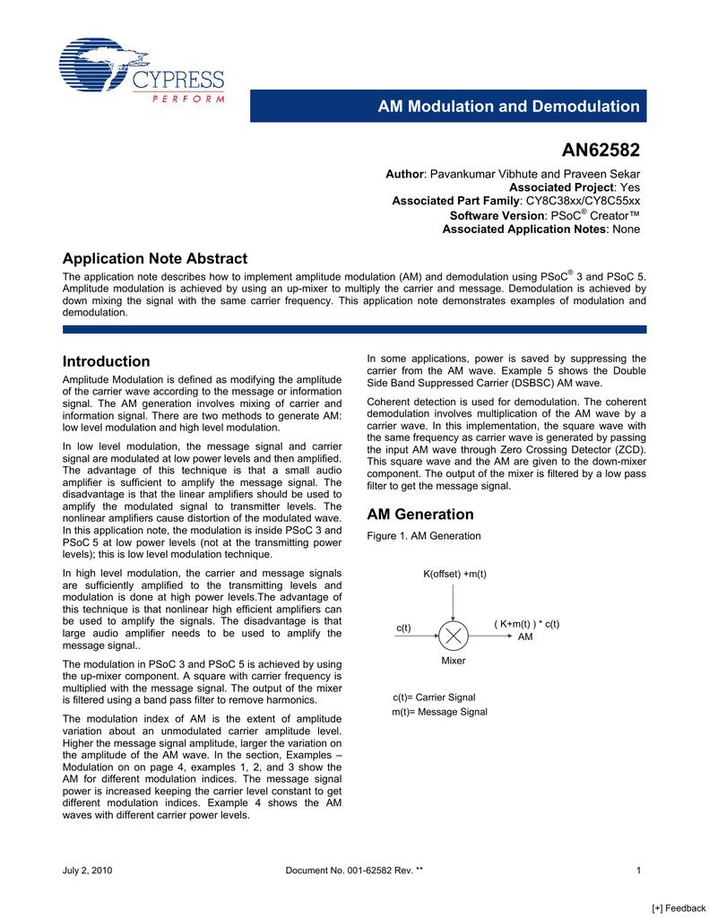 Download An62585 Am Modulation And Demodulation Psoc5pdf Circuit