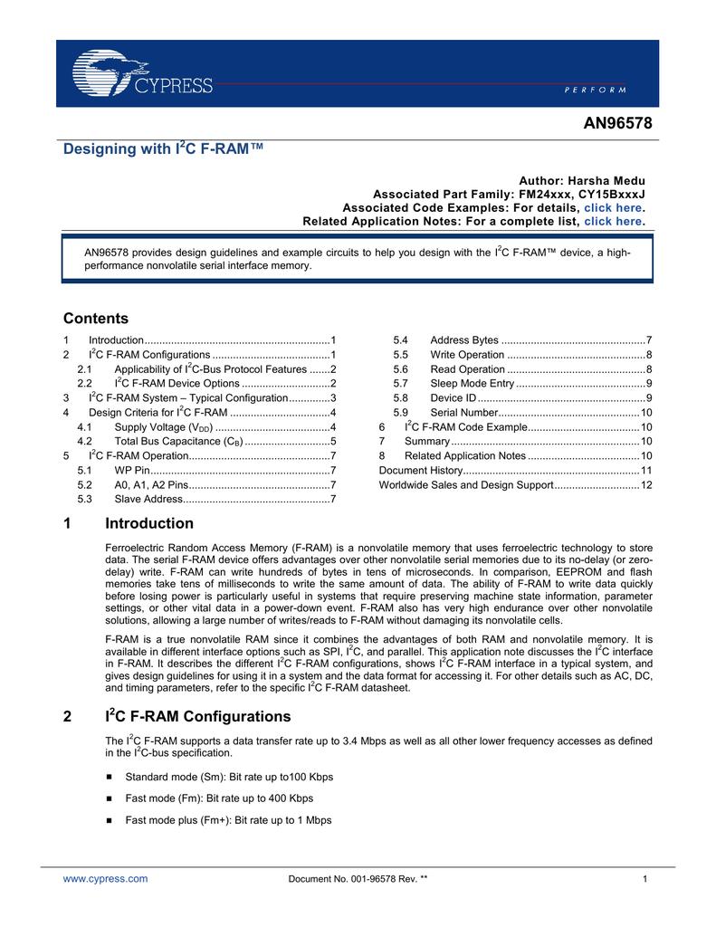 AN96578 Designing with I2C F-RAM pdf