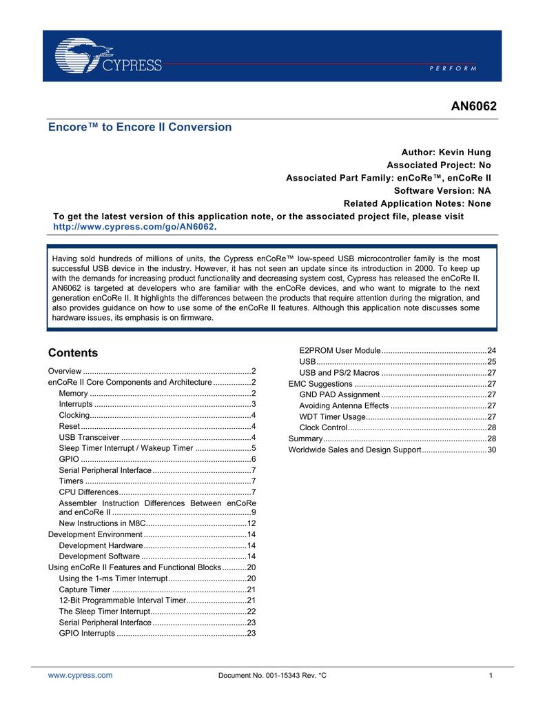 AN6062 enCoRe to enCoRe II Conversion pdf